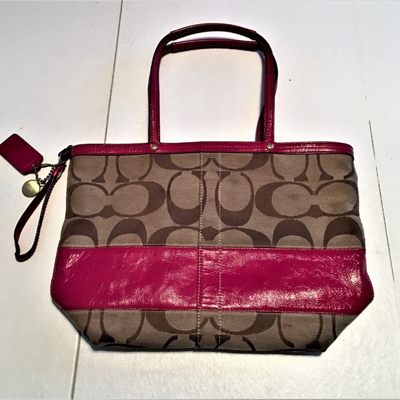 Coach Handbags - Coach Shoulder Bag Brown with Red Leather Trim